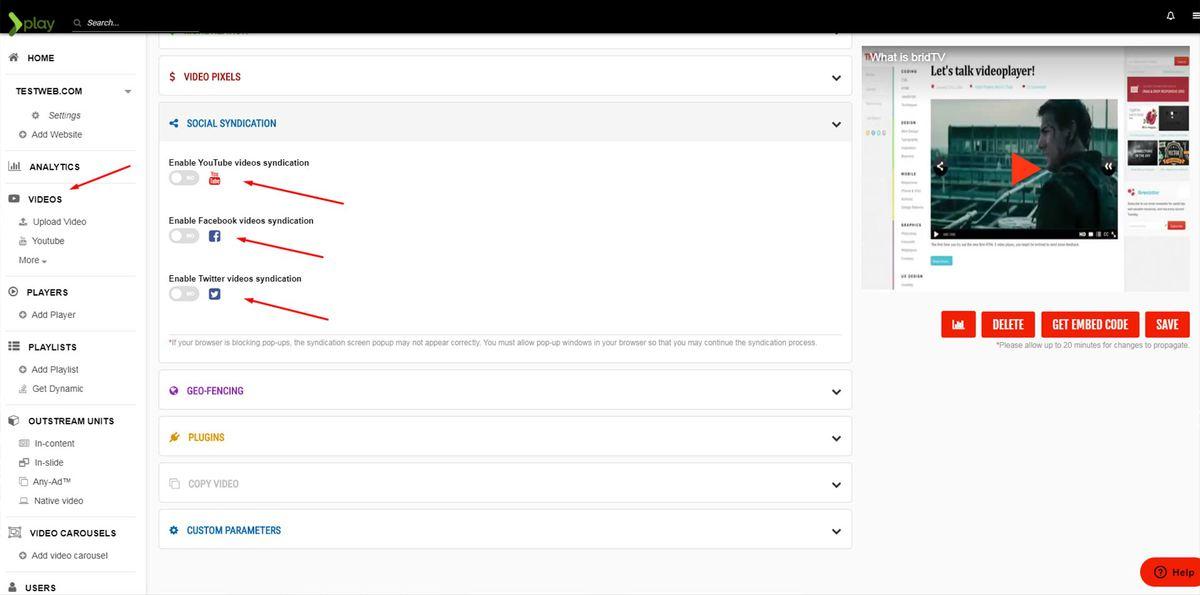 brid.tv cms video content syndication screenshot