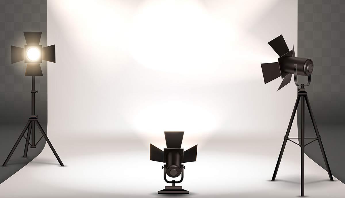 a studio lighting and backdrop setup