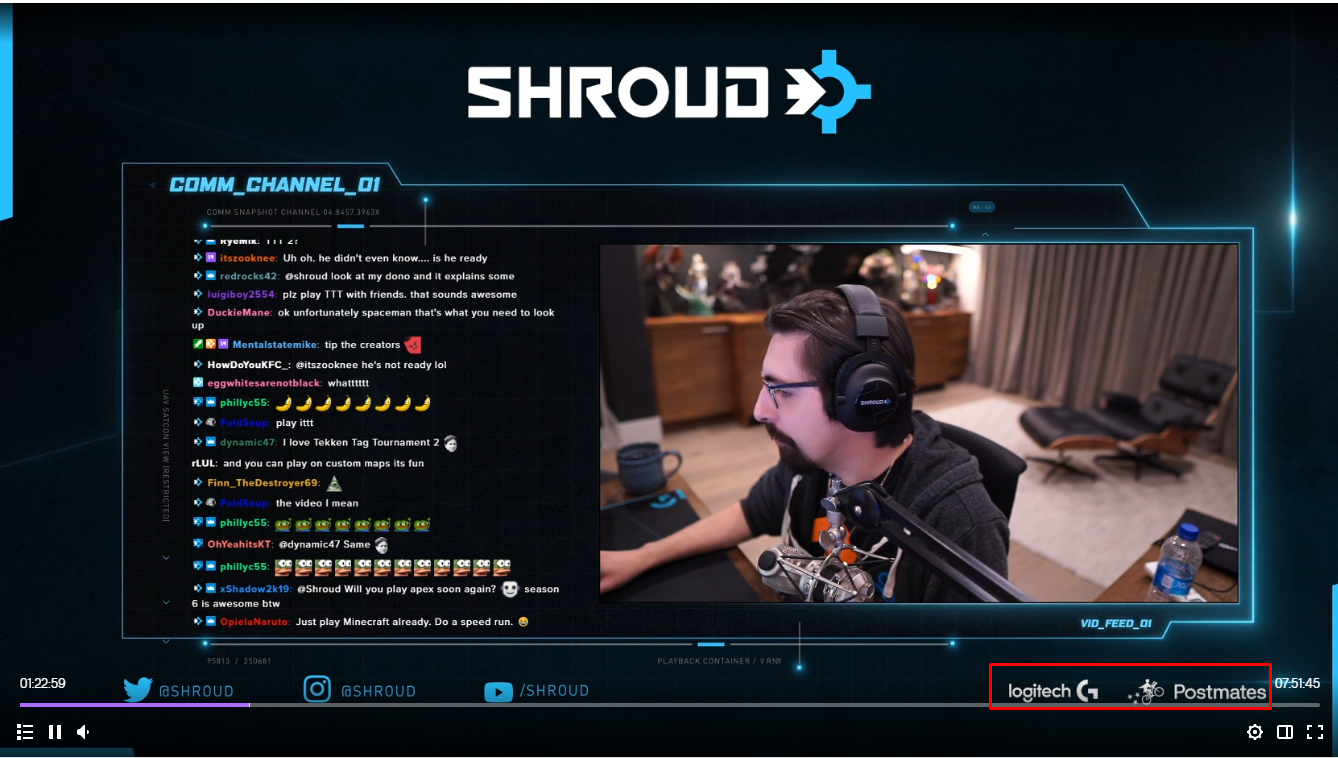 screenshot of Shroud's stream featuring sponsored ads