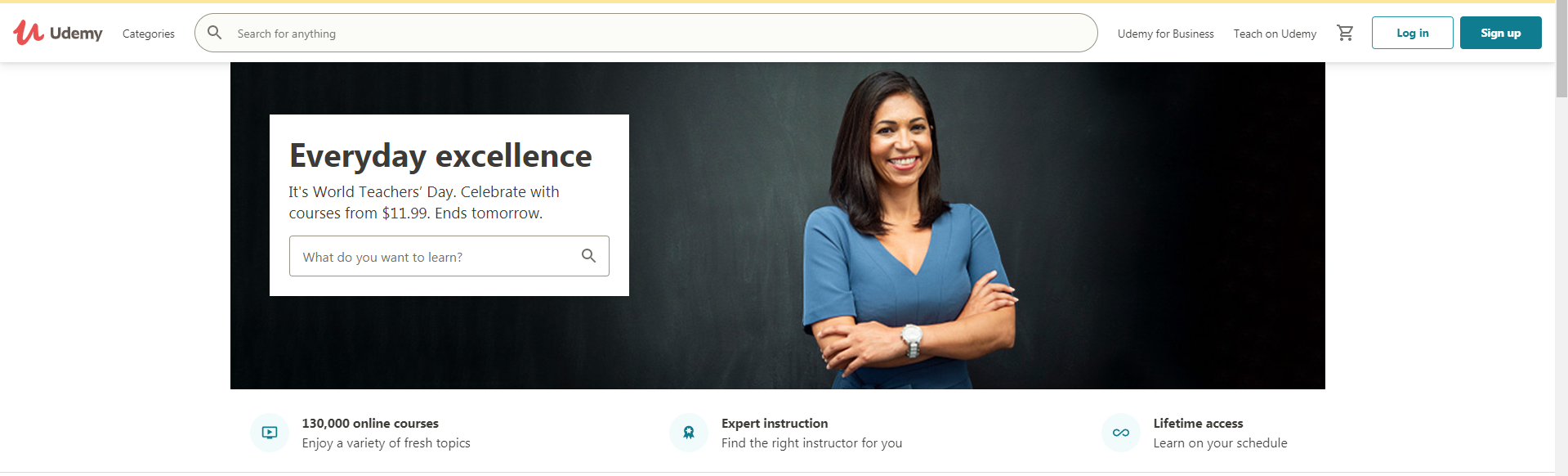 screenshot of udemy's home page