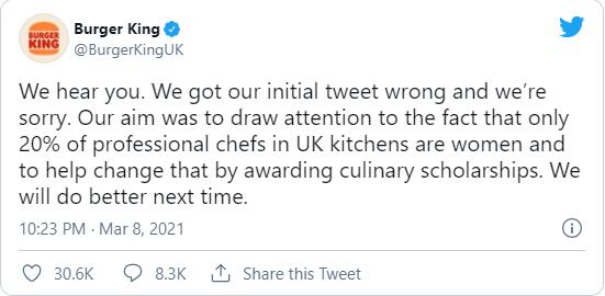 burger king international women's day 2021 controversial tweet apology