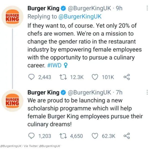burger king international women's day 2021 controversial twitter thread
