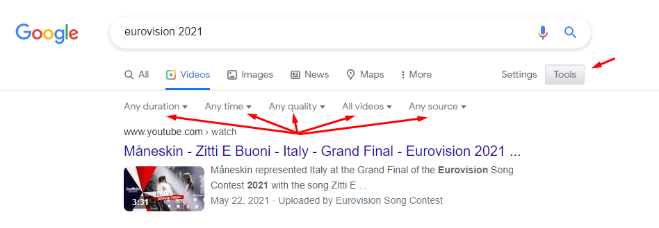eurovision 2021 google search result pages and filters