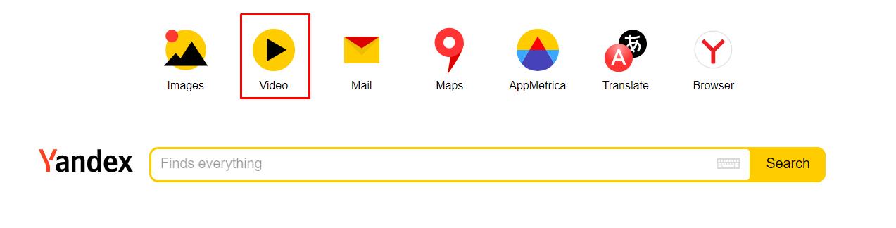 yandex video search box