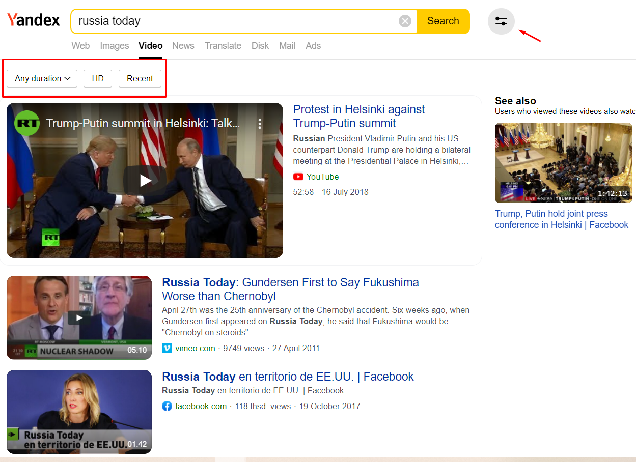 russia today video search query on yandex and serach filters