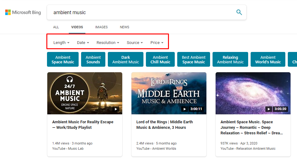 ambient music bing video search result pages and filters