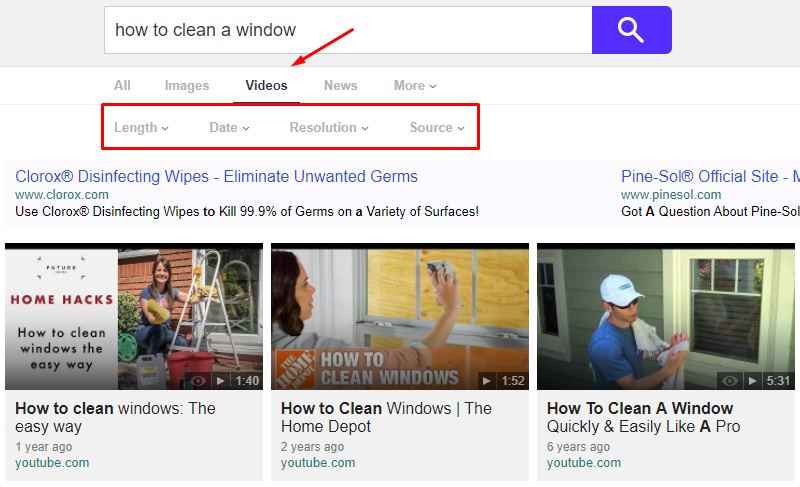how to clean a window yahoo video search query and filters