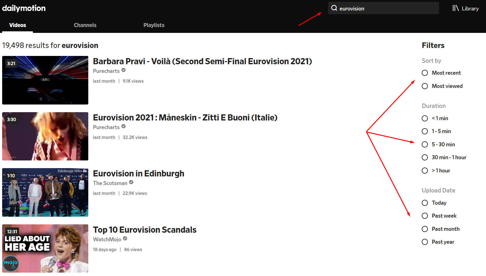 eurovision search query on dailymotion search filters