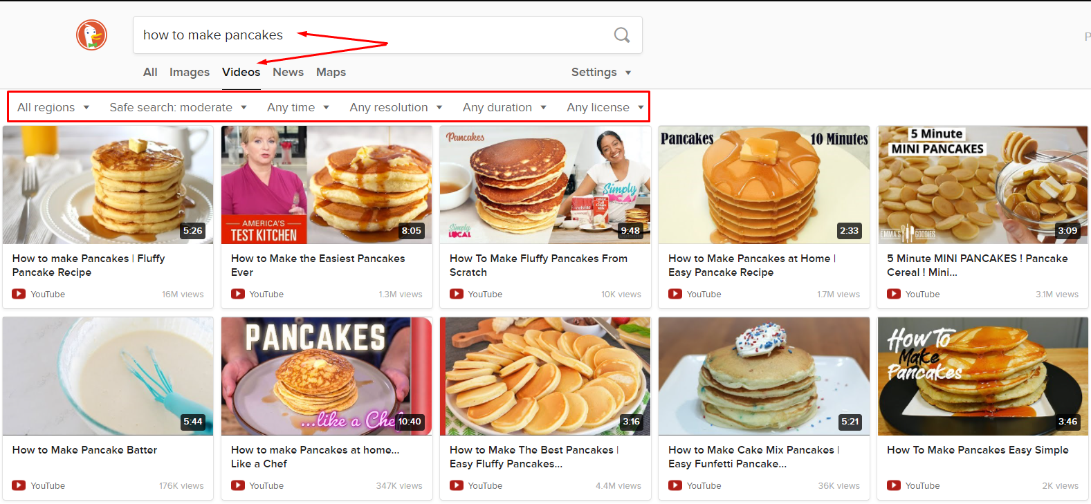 how to make pancakes DuckDuckGo video search engine SERPs and search filters